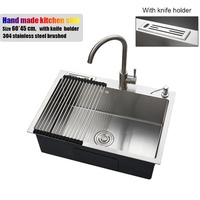 60 45cm Stainless Steel Kitchen Sink Countertop With Knife Holder Single Bowl Manual Water Tank Sink