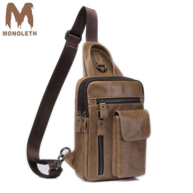 MONOLETH High Quality luxury handbags bags designer Vintage Genuine Leather Mens Bag Casual Shoulder Back packs Travel male