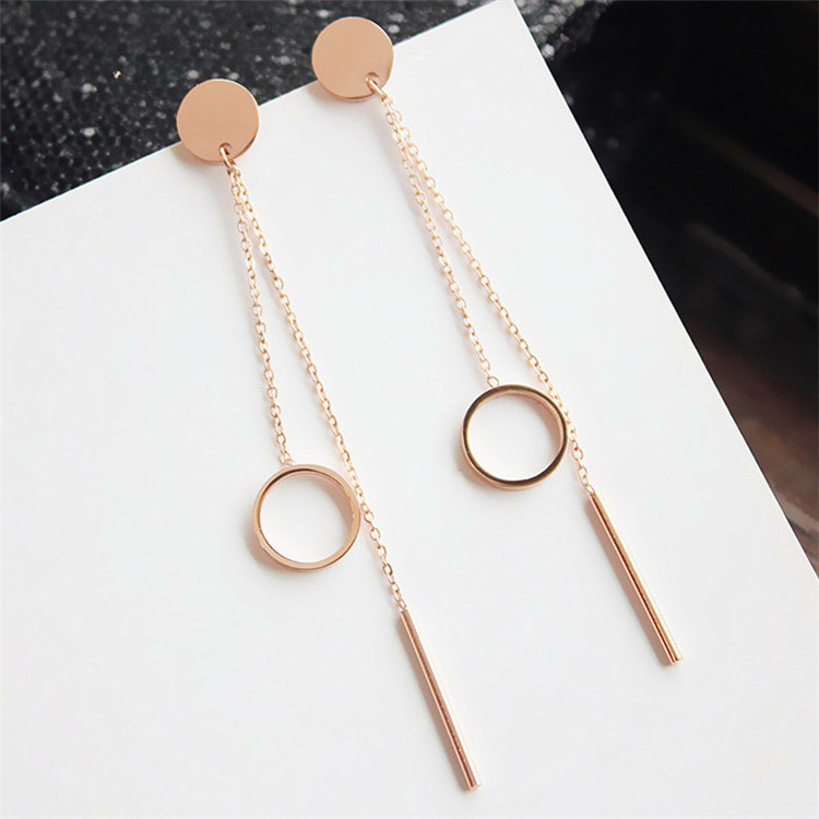 YUN RUO Brand Rose Gold Color Round Tassel Stud Earring Line Woman Girl Gift 316 L Stainless Steel Fashion Jewelry Never Fade four color round stud earring set 4pair