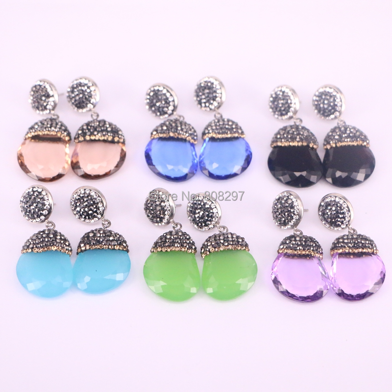5Pair mix color crystal glass earrings, pave rhinestone drop gems dangle earrings for women jewelry