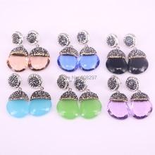 Фотография 5Pair mix color crystal glass earrings, pave rhinestone drop gems dangle earrings for women jewelry