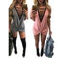 Высокое Качество Сращивания Карманные Кросс Халат Ремень Бинты Dress2017 Новые Повседневная Женщины Без Рукавов Глубокий V Кружева Искусственного Замша Dress