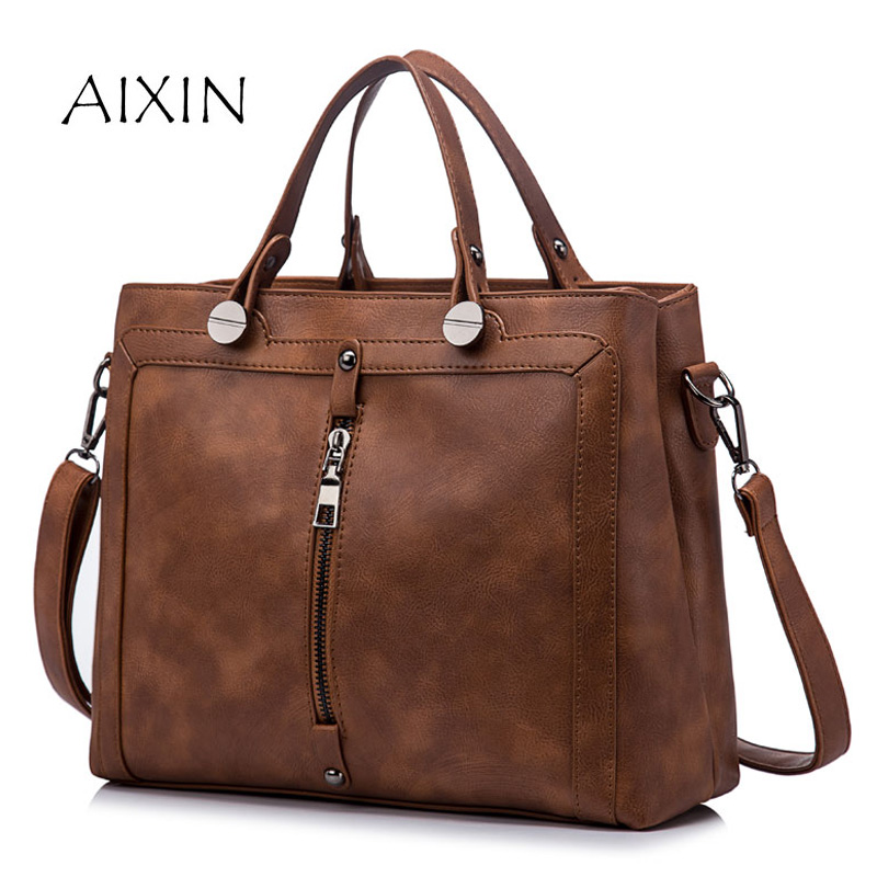 Vintage Fashion Handbag Tote Bag 2017 PU Leather Handbags Women Zipper High Quality Casual Shoulder Bag