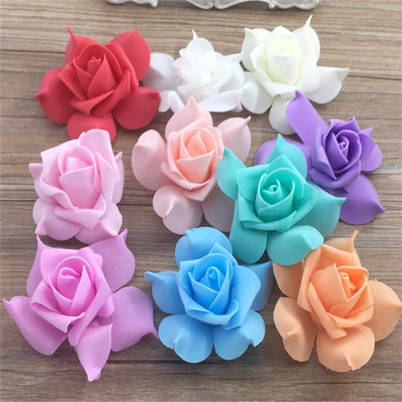 6 CM 3 pcs Foam Flowers PE Artificial Pink For Wedding Car Decoration DIY Pompom Garland Decorative Valentine's Day Fake Flowers