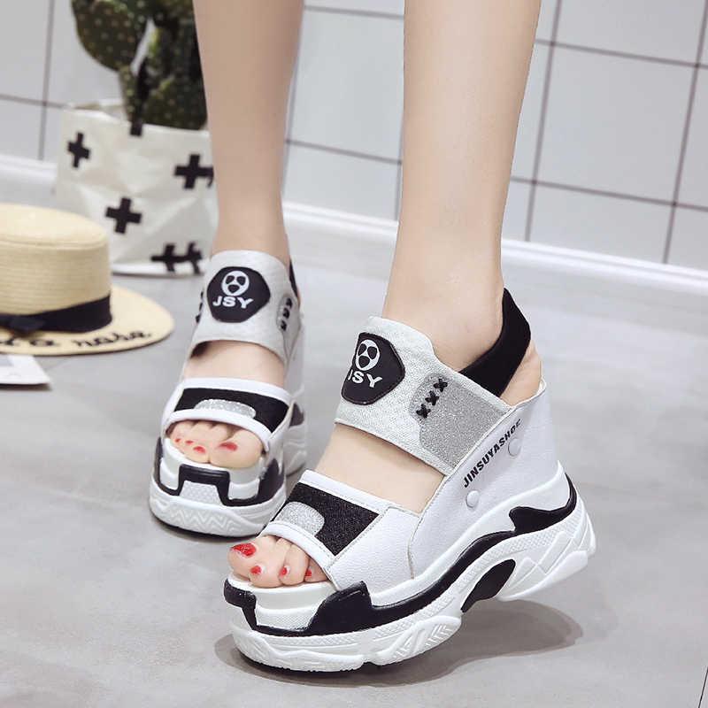 Donne di estate Sandali Talloni di Cuneo scarpe Da Tennis di Estate Peep Toe Tacchi Alti 11.5 CENTIMETRI Piattaforma Bianco Flip-Flop Sandali Inferiori Spessi