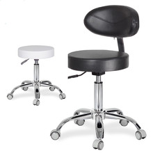 Dental Dentists Mobile Chair Nurses Stools W/ Backrest PU Leather and Medical Wheels Adjustable Height For Studio Office Salon