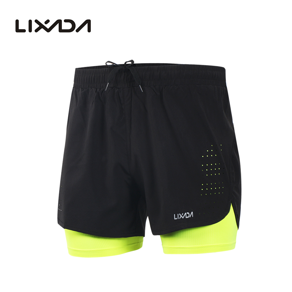 Lixada Cycling Shorts Exercise Training Quick-Drying Jogging Longer-Liner 2-In-1 Men