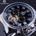 Séries Navegador Forsining Turbilhão Calendário Display Preto Prata Clcck Homens Assistir Top Marca de Luxo Masculino Relógio de Pulso Automático