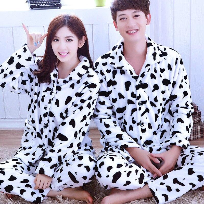 Couples Coral Fleece Sleepwear Girls Winter Cartoons Pajamas Male Flannel Sleepwear Long Sleeves Warm Homewear Plus Size D-2086