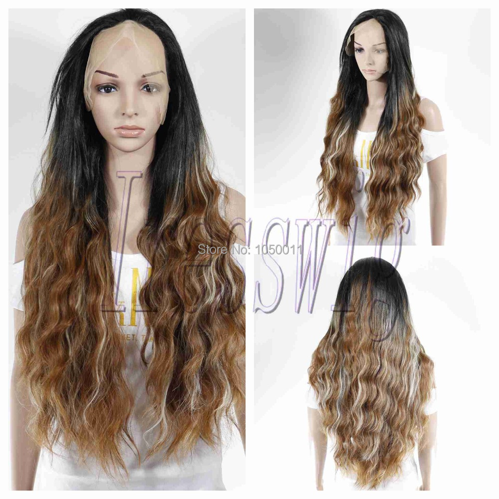 Glueless kanekalon Heat Resistant fiber Synthetic Two Tone Color natural wave hand tied high density Lace Front party Wig