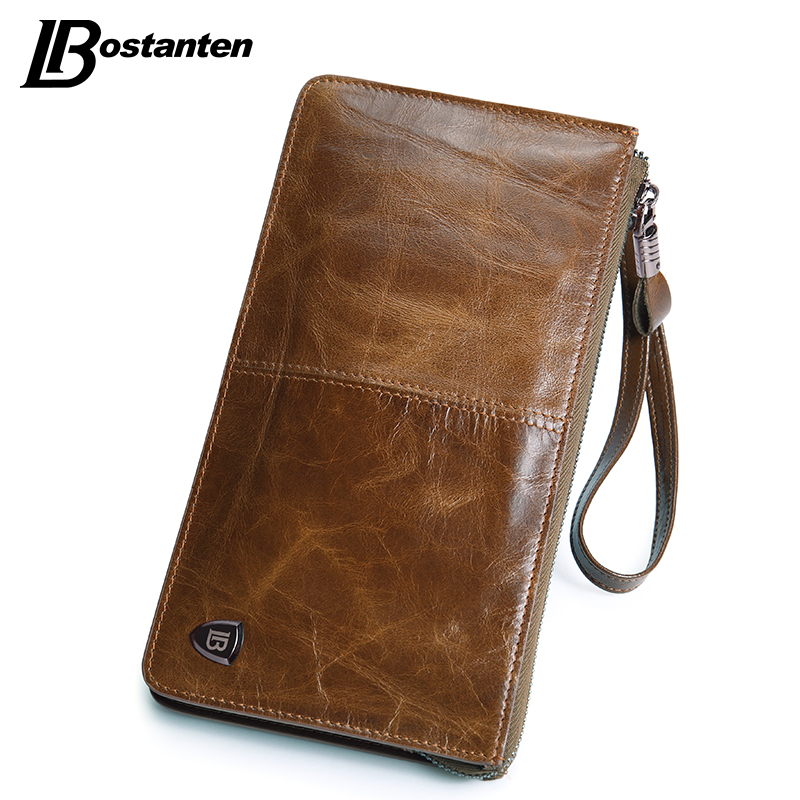 BOSTANTEN New Oil Wax Leather Men Wallets Fashion Male Clutch Purse Long Coin Purse Genuine Leather Card Holder Wallet Wristlet dollar price new european and american ultra thin leather purse large zip clutch oil wax leather wallet portefeuille femme cuir