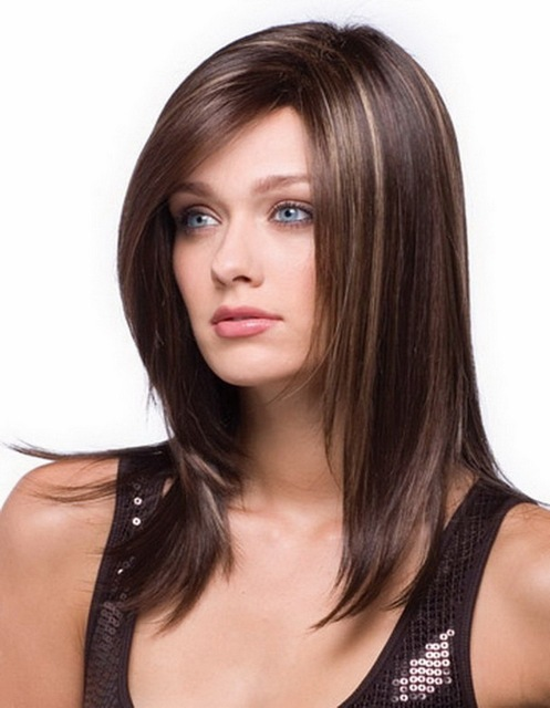 Fashion 16inch Highlights Black Brown Ombre Wig For Women Heat