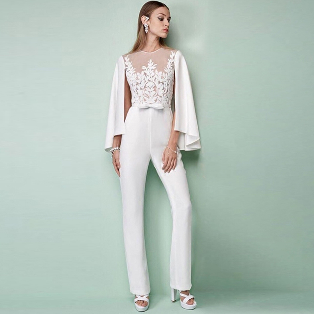 Ecombird 2017 Моды Взлетно-Посадочной Полосы Высокого Качества С Длинным рукавом длинные брюки Краткие Твердые Вышивка Белые Женщины Костюм