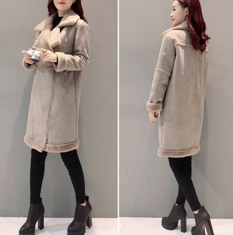 Chaud Épais Veste Femme Agneaux Haute Femmes De Coton coffee Manteau Laine Nouvelles 100 Mince 2018 Qualité Mode Suede Parkas Color Khaki D'hiver Manteaux p4qWO