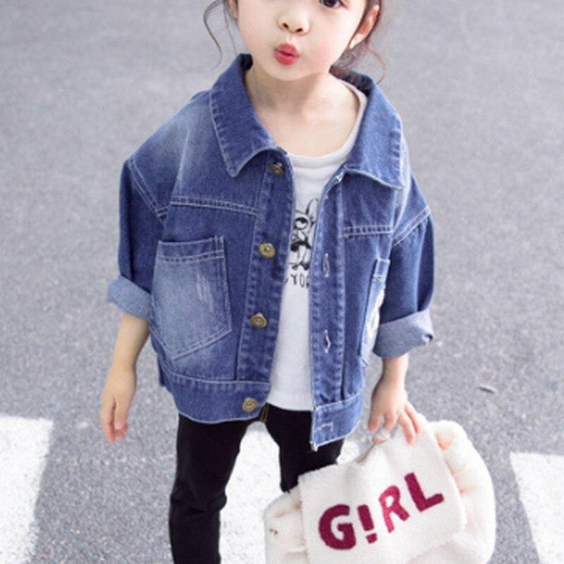 Джинсовая куртка с вышивкой с надписью для девочек, весенне-осеннее Детское пальто для девочек Детская куртка для маленьких девочек модная корейская детская куртка - Цвет: Синий