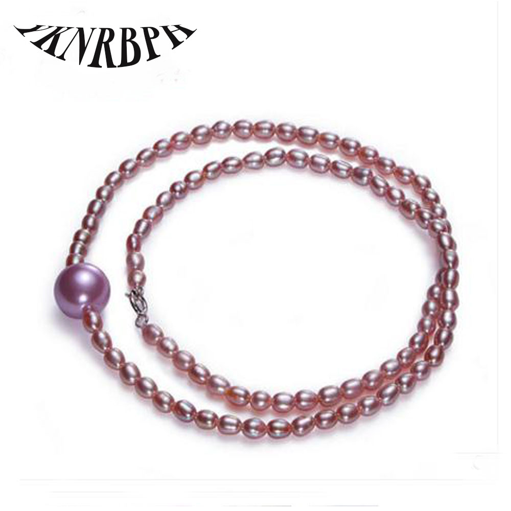 YKNRBPH Necklaces Real High-quality Pearl Necklace Rice Freshwater Fine Jewelry For Womens Engagement Bride Free Shipping YKNRBPH Necklaces Real High-quality Pearl Necklace Rice Freshwater Fine Jewelry For Womens Engagement Bride Free Shipping