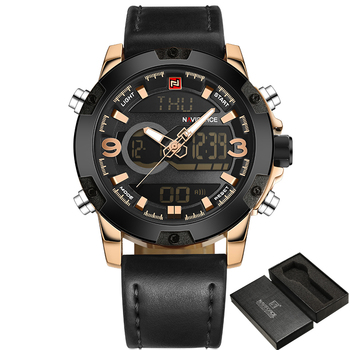 NAVIFORCE Men's Luxury Dual Time Display Waterproof Calendar Chronograph Leather Quartz Watches 2