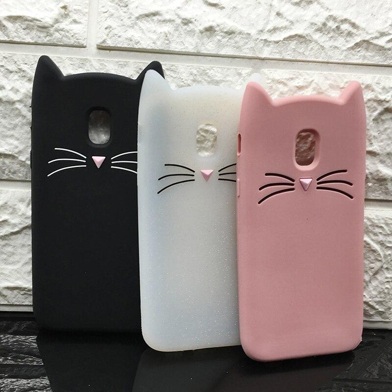 Galleria fotografica New Japan Cute 3D Glitter Beard cat silicon phone case For samsung galaxy J3 J5 J7 2017 EU J330 J530 J730 Unicorn Cartoon cover