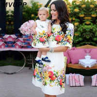 mother daughter dresses 2019 family matching clothes mama mom mother & kids family look Half Sleeve A-Line Knee-length dresses