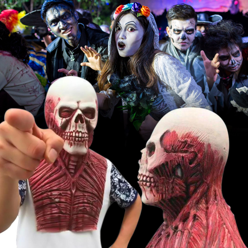 Маска «череп» на Хеллоуин резиновая с капюшоном накладные зомби взрослый Fancey платье