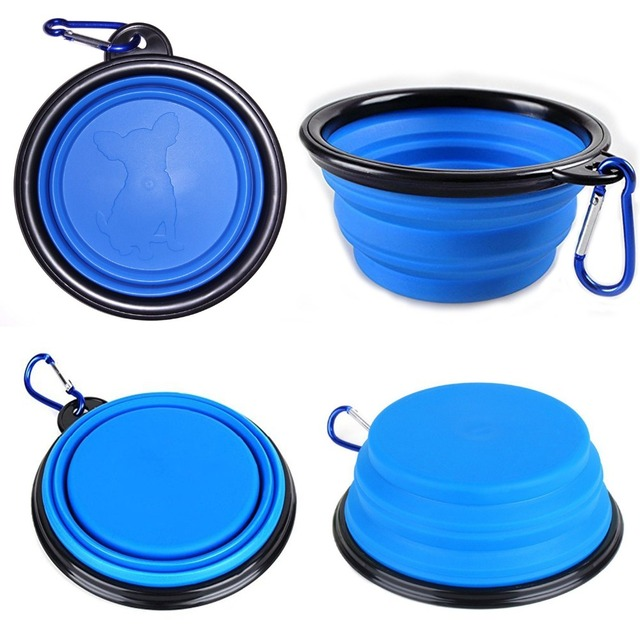 New Dog accessories silicone dog bowl candy color outdoor travel portable puppy doogie food container feeder dish on sale 10