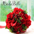 Custom Bridal Bouquet Calla Lily Wedding Bouquet Red Rose Hydrangea Bridesmaid Flower Brautstrauss Braut Ribbon