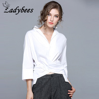 LADYBEES White Shirts Women V Neck Novelty Blouse Front Lace Up Office Ladies OL Work Two