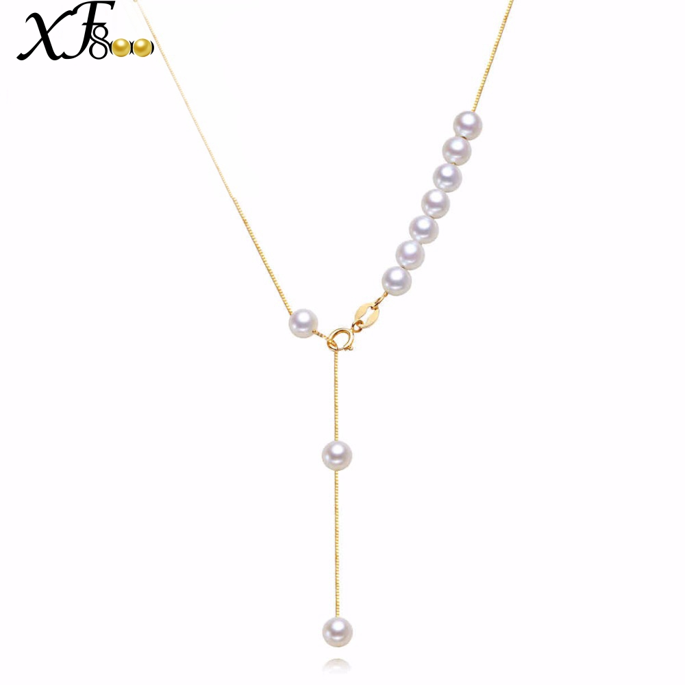 XF800 Brand 45cm AU750 18K Yellow Gold Pearl Jewelry Round Shape Pearl Necklace for Engagement X234 real diamond princess pendant 8 5 10 5mm natrual round pearl charm necklace in 18k au750 gold with 45cm chains for women ladies