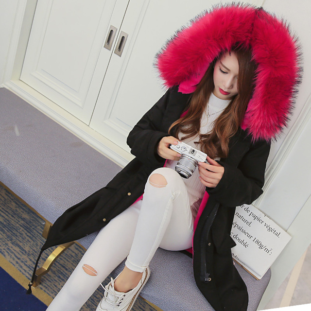Korea Purchasing Large Size Women Wool Lamb Coats Jacket Fur artificial hood padded rabbit fur linning Coat warm fashion parkas