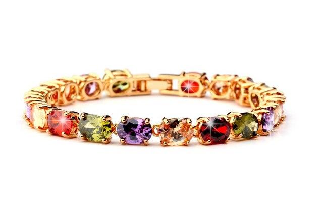 NICETER 18K Rose Gold Sparking Multicolour My Mona Lisa Bracelets Bangles For Women Anniversary Accessories Bangles N8083Fashion