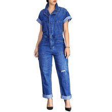 cc46a3ae4f6 2018 Spring Fashion Vintage Jeans Jumpsuit Rompers Women Casual Steetwear  Femme Playsuit Casual Short Sleeve Denim Jumpsuits