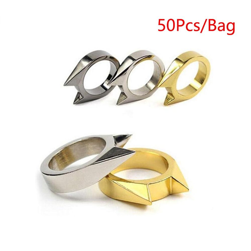 50 pçs/saco Self Defense Defesa Anel de Dedo Anel de Proteção de Segurança Mini Auto-Defens