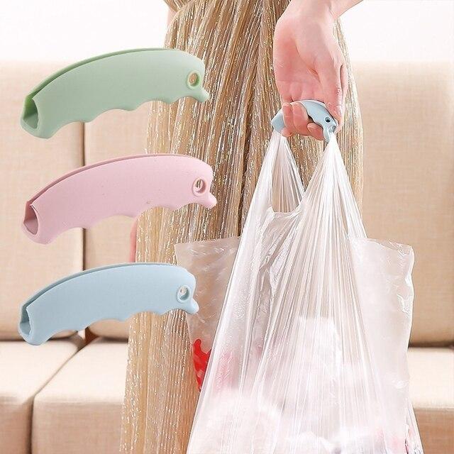 2 uds. Bolsa de compras de silicona soporte de elevación mango fácil de llevar herramienta antideslizante ranuras portador de superficie