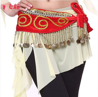 New Style Belly Dance Costumes Velvet Gold Coines Belly Dance Hip Scarf For Women Belly Dancing