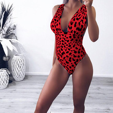 2019 Summer Women Jumpsuits Sexy V-neck Backless Ladies Bodysuits Printed Leopard Bandage Rompers
