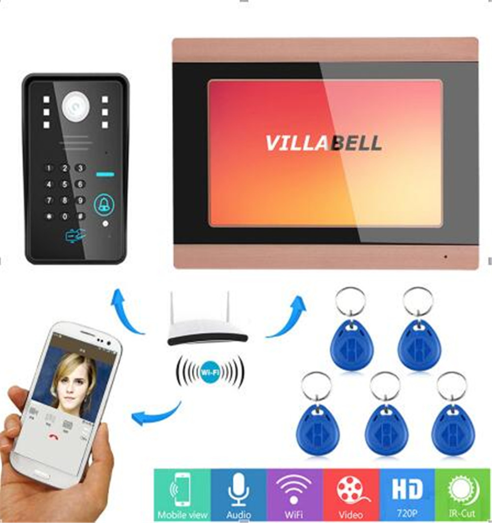 7 Inch WIFI / Password/ID Card Remote Control Video Door Phone  Access Control System