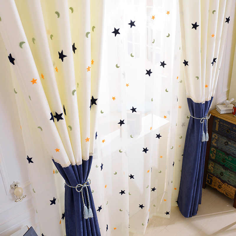Kids Curtains Embroidery Star Moon Contracted Contemporary Stitching Window Curtains for Children Bedroom Screening Baby Room
