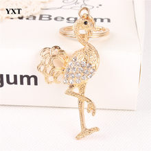 New Arrival Ostrich Bird Fast Leg Lovely Crystal Charm Pendant Purse Car Key Keyring Keychain Birthday Creative Jewelry Gift(China)