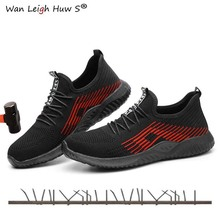 Summer Men's Outdoor Breathable Mesh Light & Comfortable Steel Toe Protective Work Shoes Boots Men Puncture Proof Safety Shoes sitaile breathable mesh steel toe safety shoes men s outdoor anti smashing men light puncture proof comfortable work shoes boot