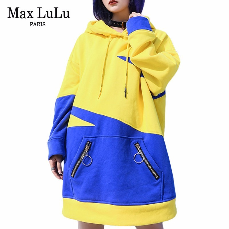 Max LuLu Luxury Korean Brand Harajuku Ladies Fitness Tracksuit Womens Hooded Long Hoodies Warm Moletom Female