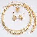 Chapado en oro cristalino claro Diamante mujer africana de la joyería del banquete de boda nupcial sistemas de la joyería