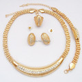 Gold Plated Clear Crystal Diamante African Woman Jewelry Set Wedding Bridal Party Jewelry Sets