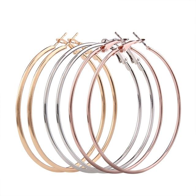 3 Pair New Fashion Lady Women Thin Round Big Large Dangle Hoop Loop Earrings Gir