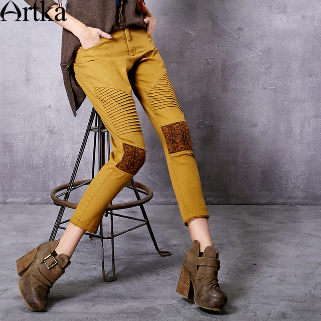 Artka Women's Autumn New Ethnic Patchwork Cotton Ankle-Length Pants Vintage Mid-waist All-match Pencil Pants KA10165Q