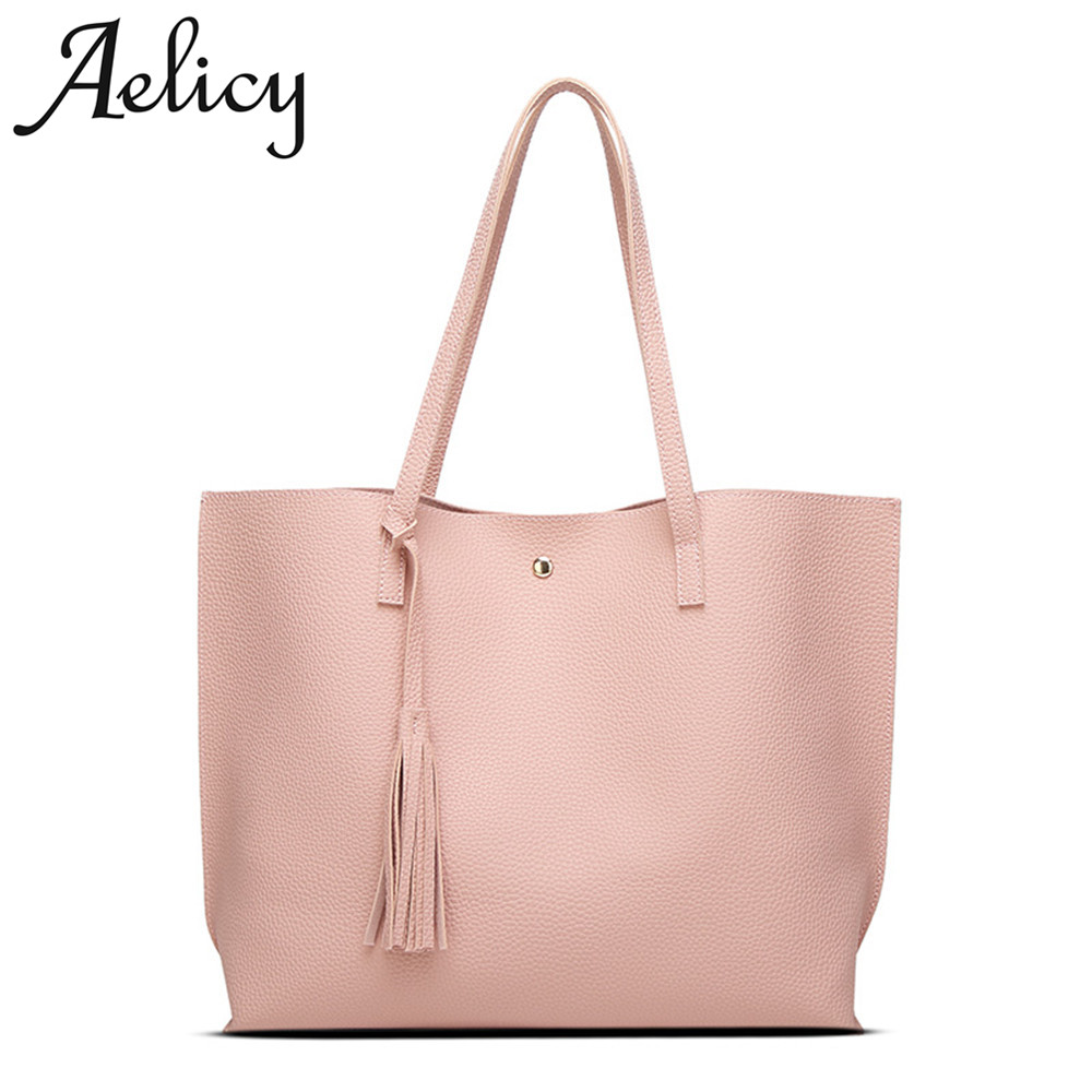 Aelicy Luxury Women Shoulder Bag Soft PU Leather Casual Tote Handbags Handle Bags Ladies Tassel High Quality Women's Handbags chinese national style 2017 women bags casual bag top handle bag high quality soft pu zipper versatile one sequined belt