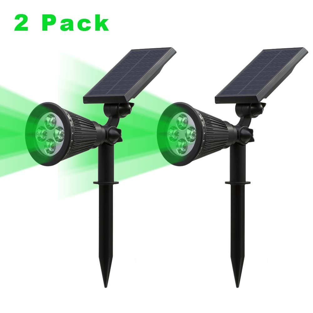 T-SUNRISE 2 Pack Solar Spotlight LED Solar Lights Green Light Waterproof Outdoor Landscape Lighting Wall Light for Garden Yard