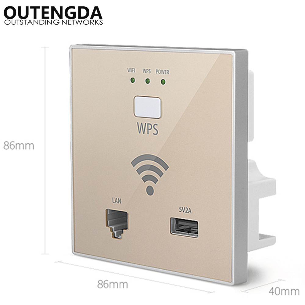 300Mbps In-wall Wireless Access Point Wall Socket Wi-Fi Extender For Hotel Wi-Fi Project Support AC Management & RJ45 USB WPS