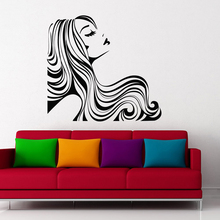 Woman Wall Decal. Girl With Long Hair Vinyl Sticker. Beauty Salon Art. Fashion Make Up A5-006