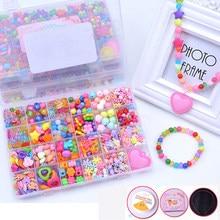 Bricolage fait à la main perlé jouet avec ensemble d'accessoires enfants créatifs 24 grille fille bijoux faisant des jouets jouets éducatifs enfants cadeau