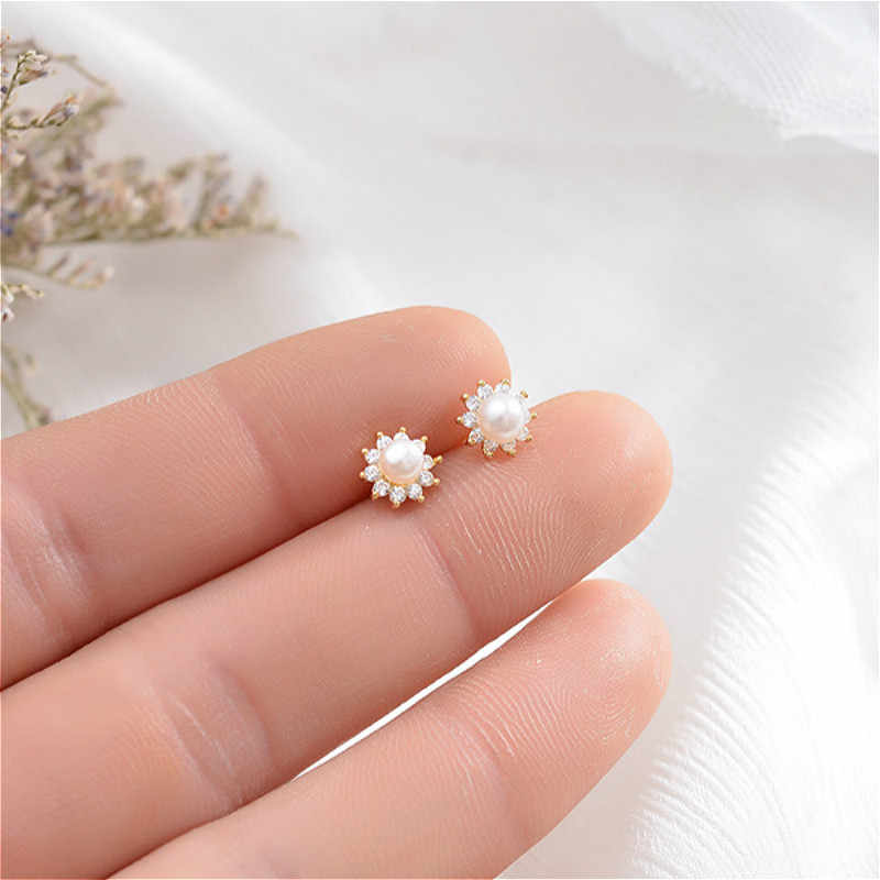 100% Authentic 925 Sterling Silver Flowers Earrings Exquisite Sun Flower Shell Beads Stud Earrings For Women New Fashion Jewelry